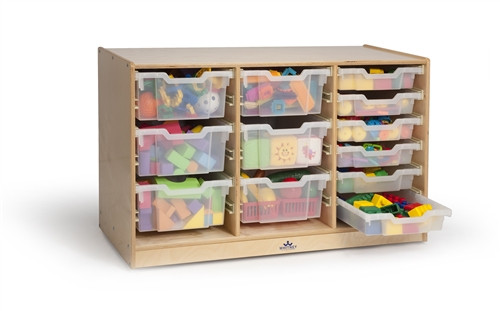 Clear Tray Triple Column Storage Center - 39.5 in. × 17.5 in. × 24.5 in.