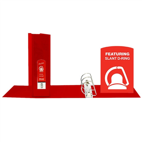 D Ring Binder with Pockets Red - 3 in.