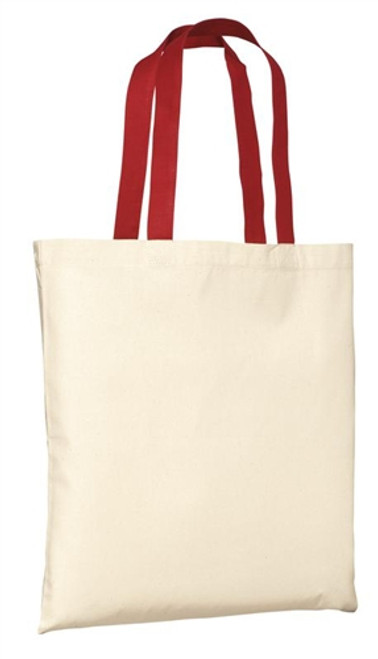 Port & Company - Budget Tote - Natural/ Red Strap 10/case
