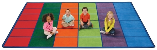 Colorful Rows Seating Rug Seats 36 Rectangle - 8 ft. 4 in. x 13 ft. 4 in.