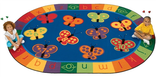123 ABC Butterfly Fun Rug Oval - 6 ft. 9 in. x 9 ft. 5 in.