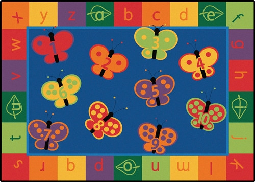 123 ABC Butterfly Fun Rug Rectangle - 3 ft. 10 in.  x 5 ft. 5 in.