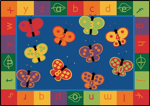 123 ABC Butterfly Fun Rug Rectangle - 8 ft. x 12 ft.