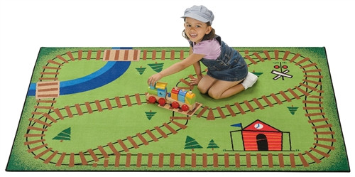 Railroad Playtime Rug Rectangle - 3 ft. x 4 ft. 6 in.