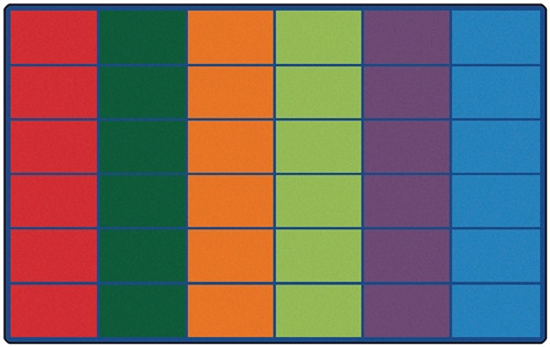 Colorful Rows Seating Rug Seats 30 Rectangle - 8 ft. 4 in. x 13 ft. 4 in.