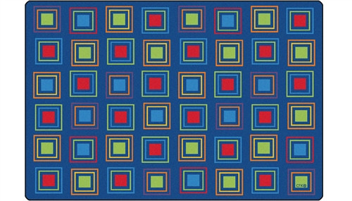 Primary Squares Seating Rug Rectangle - 6 ft. x 9 ft.