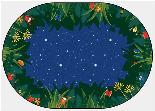 Peaceful Tropical Night Oval - 3 ft. 10 in. x 5 ft. 5 in.