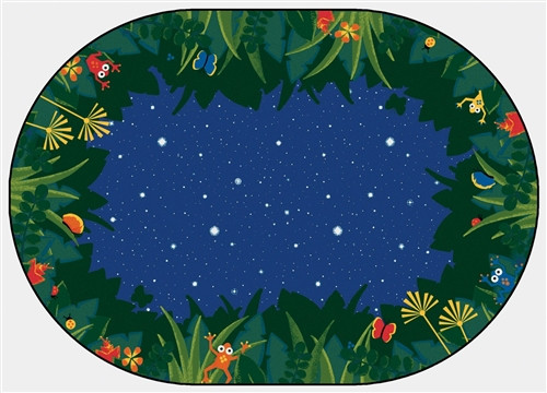 Peaceful Tropical Night Oval -  6 ft.x 9 ft.