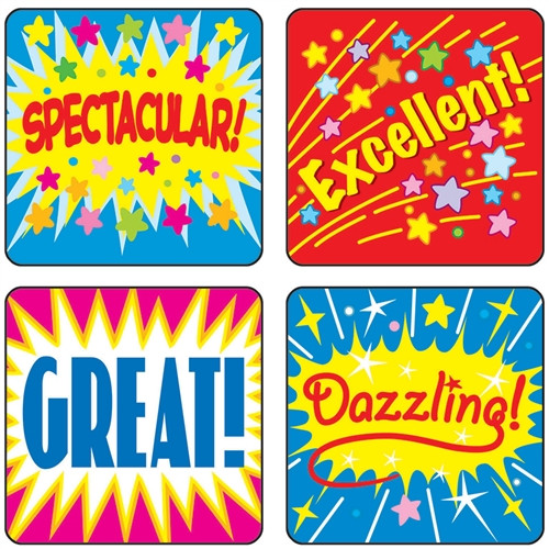 Stickers Positive Words Acid and Lignin Free - 1 in. x 1 in.