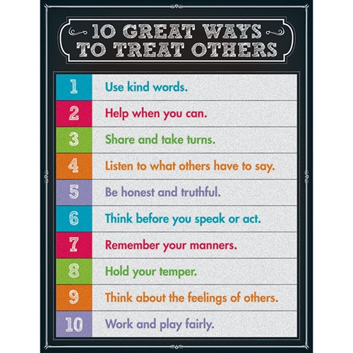 10 Great Ways To Treat Others Chartlet Gr 1-5 - 17 in. x 22 in.
