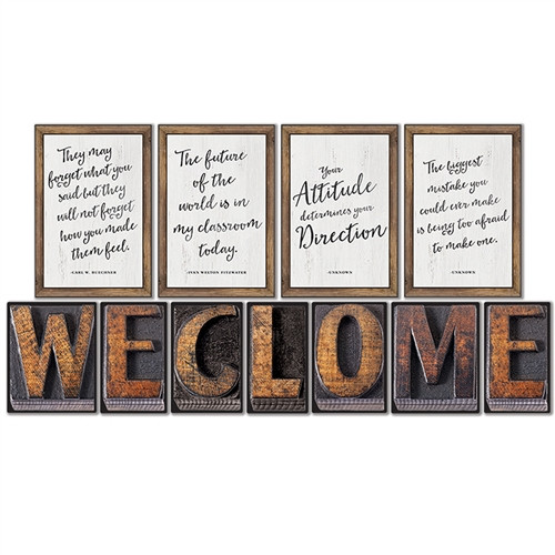 Industrial Chic Welcome Bulletin Board Set School Girl Style