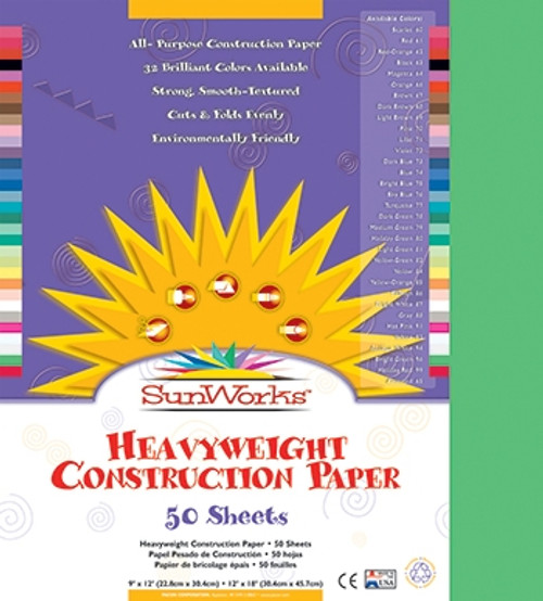Sunworks Bright Green 50shts Construction Paper - 9 in. x 12 in.