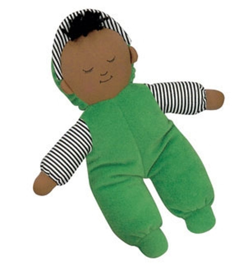 Babys First African American Boy Green Doll - 10 in. x 9 in. x 2 in.