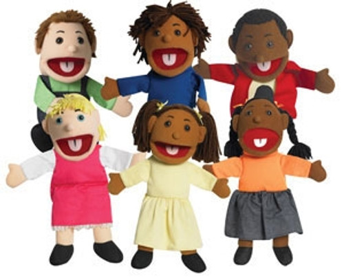 Ethnic Children Puppets with Movable Mouths Set of 6 - 15 in.