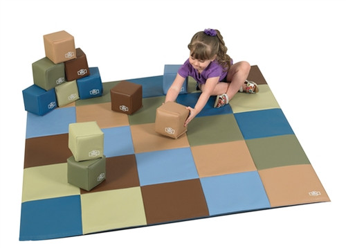 Patchwork Mat and 12 Pieces Block Set Woodland - 57 in. x 57 in. x 1 in.