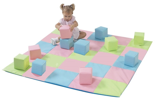 Patchwork Mat and 12 Pieces Block Set Primary