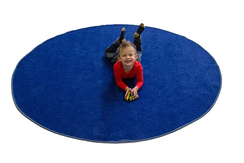 Blue Solid Round Small Carpets - 78 in. x 78 in.