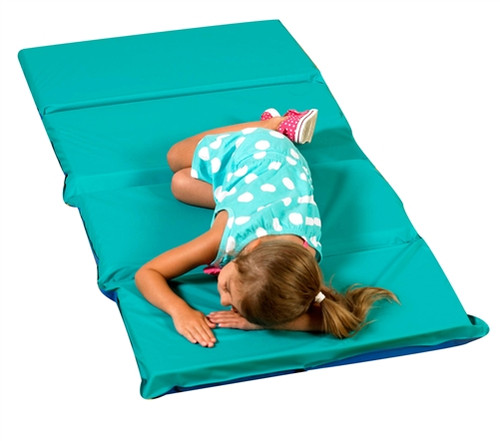 2 in. Infection Control Folding Rest Mat Teal and Blue