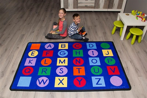 Alphabet on Circles and Squares Value Size Rug - 70 in. x 56 in.