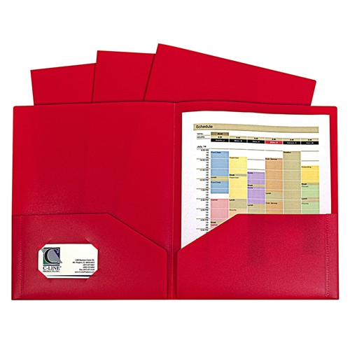 Red Two Pocket Poly Portfolios Without Prongs Pack Of 10