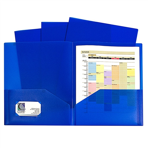 Blue Two Pocket Poly Portfolios Without Prongs Pack Of 10 - 8.5 in. x 11 in.
