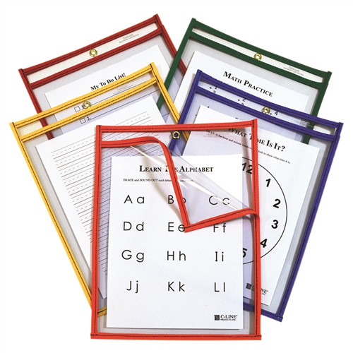 C-Line Easy Load Pockets Primary Colors - 9 in. x 12 in.
