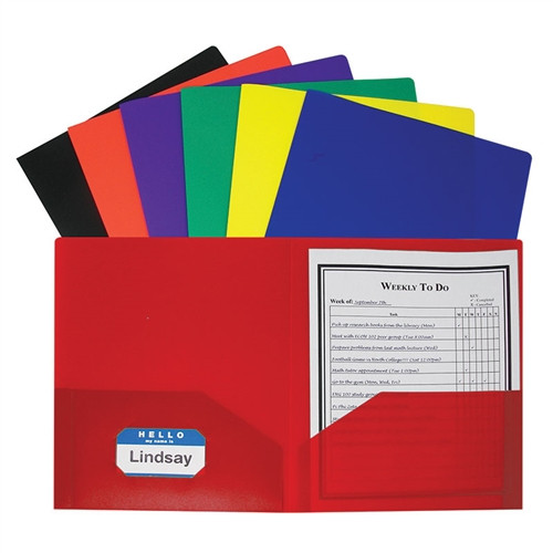 Two Pocket Poly Portfolios 36 Per Box Assorted Without Prongs