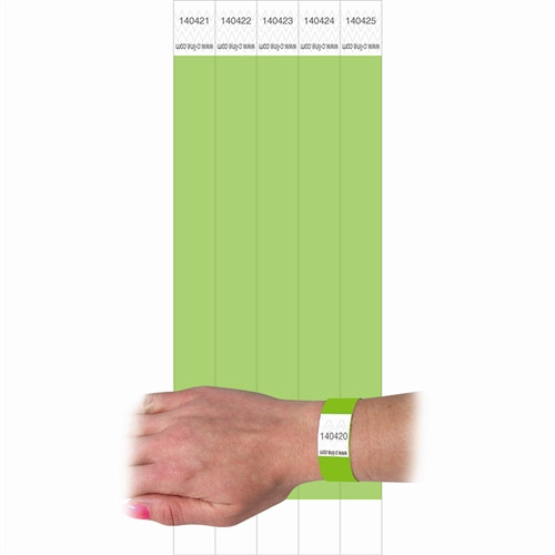 C Line Dupont Tyvek Green Security Wristbands - 0.75 in. x 10 in.