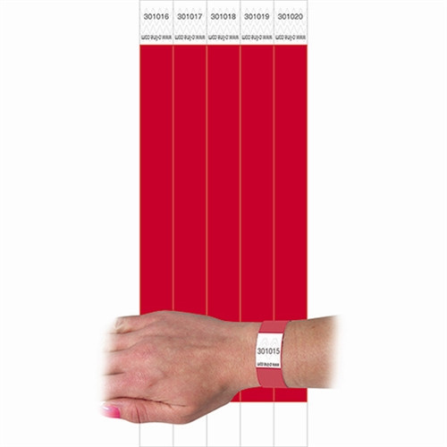 C Line Dupont Tyvek Security Wristbands Red - 0.75 in. x 10 in.