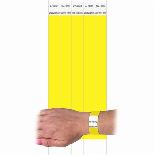 C Line Dupont Tyvek Security Wristbands Yellow - 0.75 in. x 10 in.