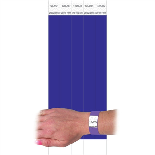 C Line Dupont Tyvek Purple Security Wristbands - 0.75 in. x 10 in.