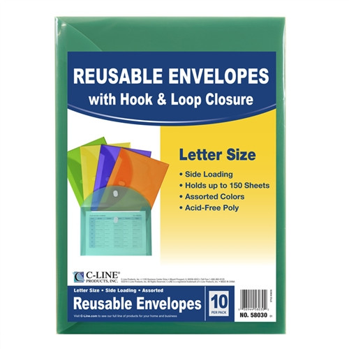 Xl Reusable Envelopes With Hook and Loop Closure 10 Pack