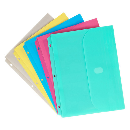 Binder Pocket With Hook and Loop Closures - Assorted Colors