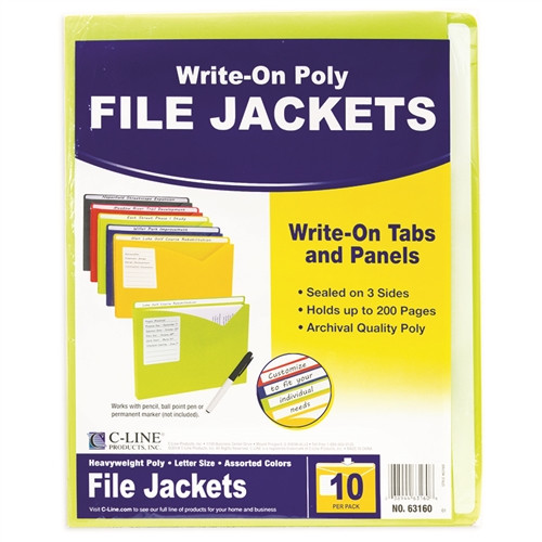 C Line 10bx Assorted Write On Poly File Jackets