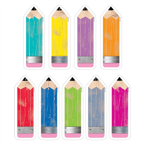 Pencils Cut Outs Upcycle Style - 6 in.