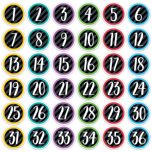 Bold Bright Student Numbers Designer Cutouts - 3 in.