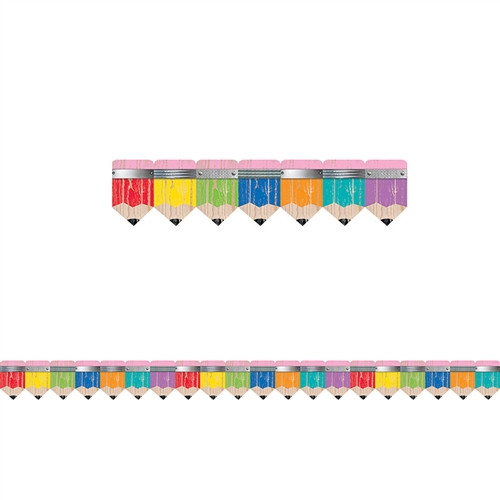 Rustic Pencils Border Upcycle Style - 2.75 in.