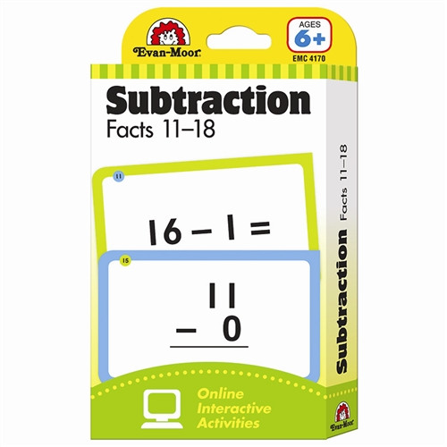 Flashcard Subtraction Facts Set 11 to 18