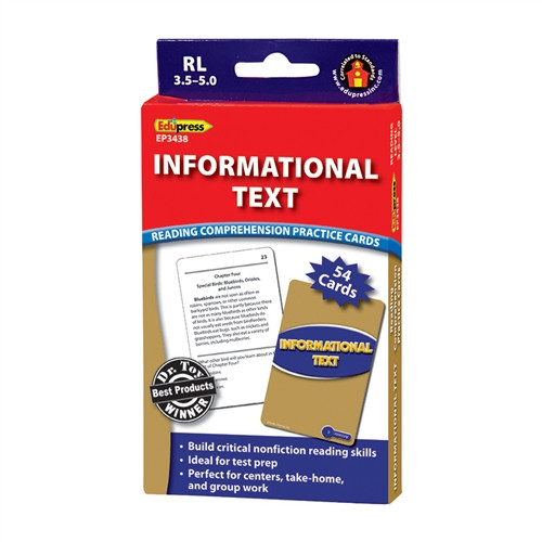 Informational Text Blue Level Reading Comprehension Practice Cards
