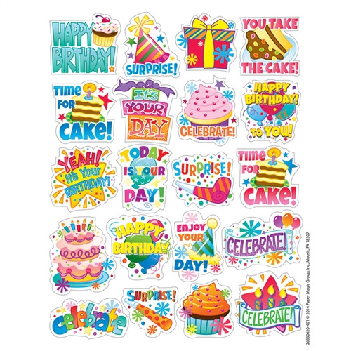 Birthday Theme Stickers - 1 in. x 1 in.