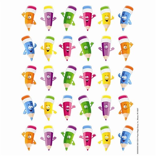Pencil Smiley Faces Theme Stickers - 1 in. x 1 in.