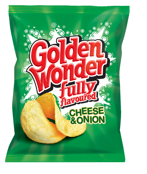 Golden Wonder Cheese and Onion Crisps 32.5g 32 Pack
