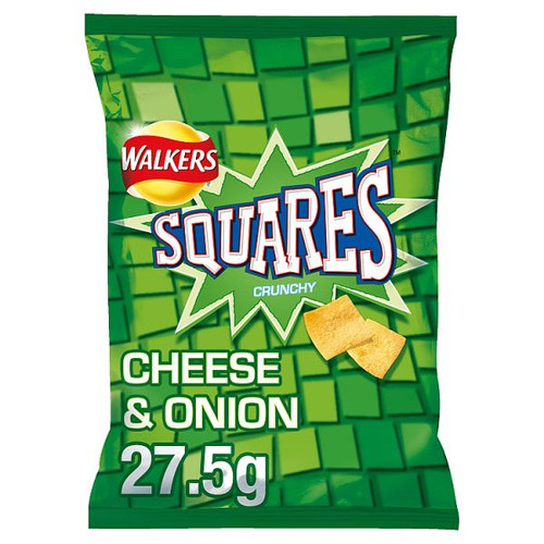 Walkers Squares Cheese and Onion Crisps 27.5g 32 Pack
