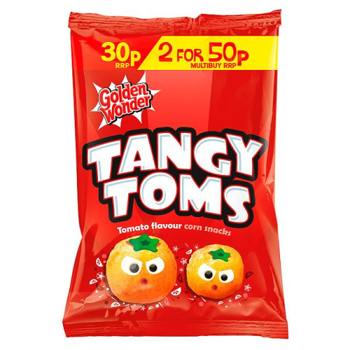 Golden Wonder Tangy Toms Tomato Sauce Flavour Corn Snacks 25g 36 Box