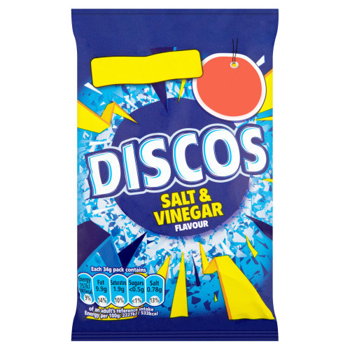 Discos Salt & Vinegar Flavour Crisps 34g 30 Pack