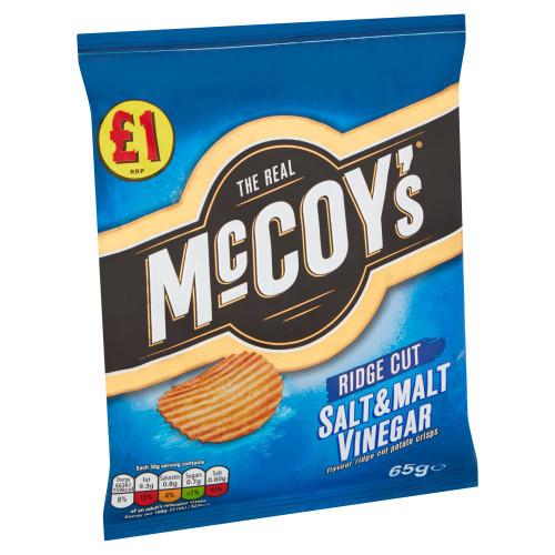 McCoy's Salt & Malt Vinegar Sharing Crisps 65g 16 Pack