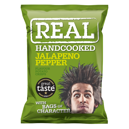 Real Hand Cooked Jalapeno Pepper Flavour Crisps 35g 24 Pack