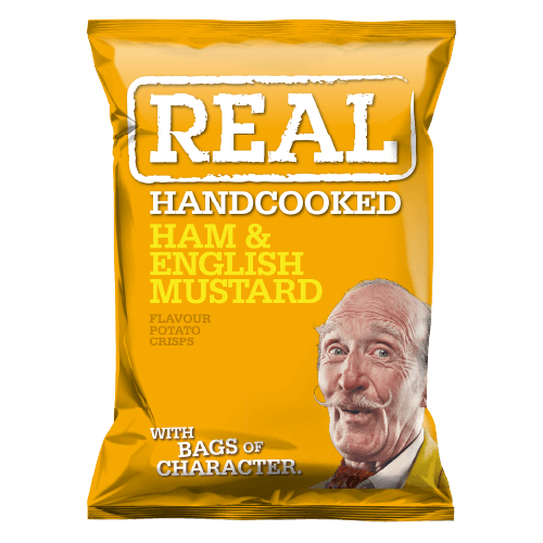 Real Hand Cooked Ham & English Mustard Flavour Crisps 35g 24 Pack