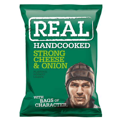 Real Hand Cooked Strong Cheese & Onion Flavour 35g 24 Pack