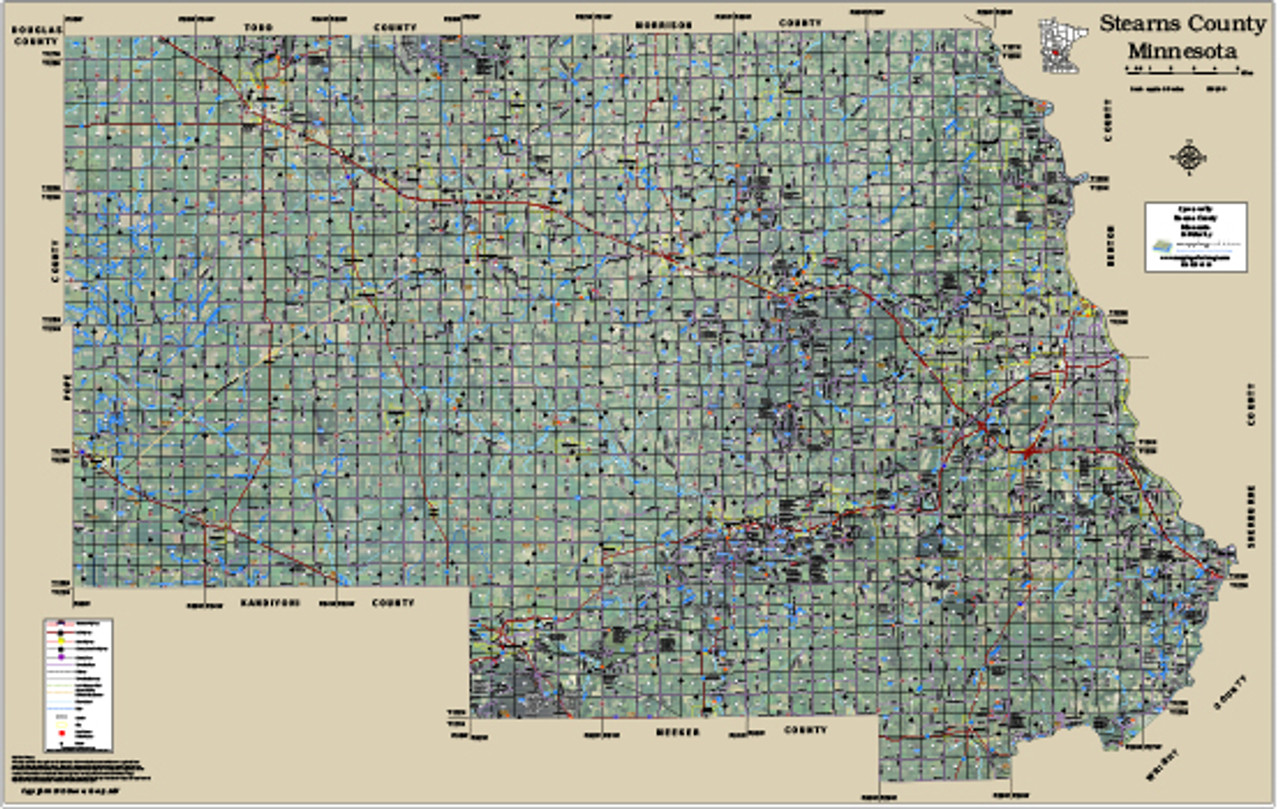 Stearns County Property Map Stearns County Minnesota 2015 Aerial Wall Map, Stearns County